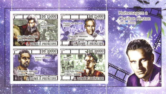 In Memory Charlton Heston (1923-2008), Cinema - Issue of Sao Tome and Principe postage stamps