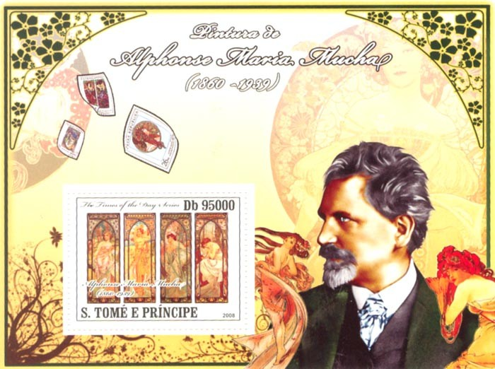 Paintings of Alphonse Maria Mucha (1860-1939) - Issue of Sao Tome and Principe postage stamps