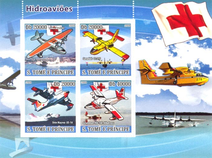 Rescue flying boats, Red cross - Issue of Sao Tome and Principe postage stamps