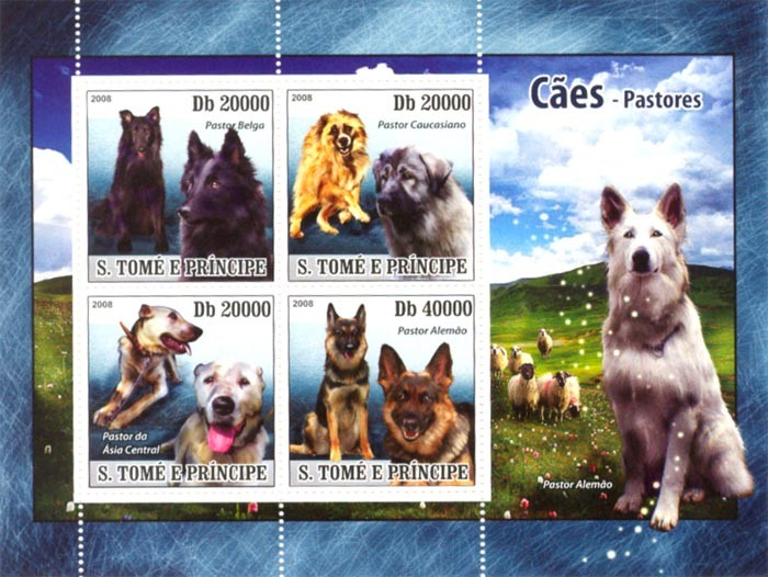 Shepherds Dogs - Issue of Sao Tome and Principe postage stamps
