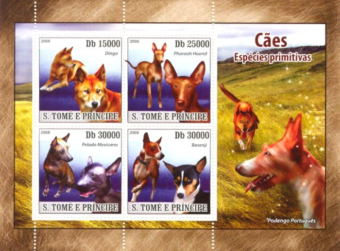 Primitive Dogs - Issue of Sao Tome and Principe postage stamps