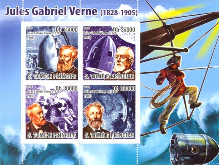 Im Memory Jules Gabriel Verne (1828-1905) - Issue of Sao Tome and Principe postage stamps