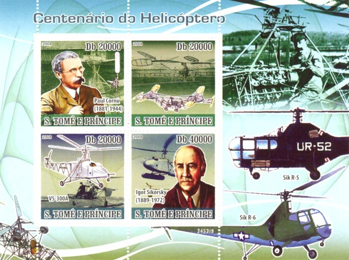 Anniversary of Helicopter, P.Cornu (1881-1994), I.Sikorsky (1889-1972) - Issue of Sao Tome and Principe postage stamps