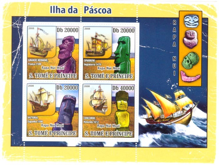 Easter Island, Ships - Issue of Sao Tome and Principe postage stamps