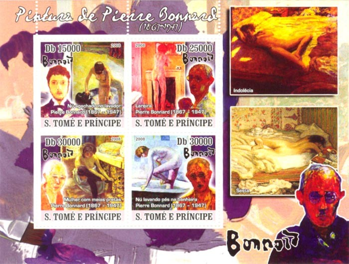 Paintings of Pierre Bonnard (1867-1947) - Issue of Sao Tome and Principe postage stamps