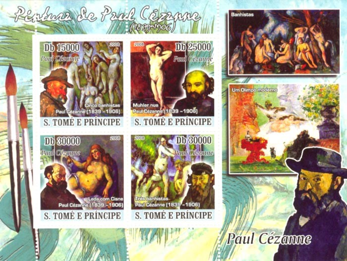 Paintings of Paul Cezanne (1839-1906) - Issue of Sao Tome and Principe postage stamps