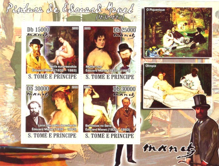 Paintings of Edouard Manet (1832-1883) - Issue of Sao Tome and Principe postage stamps