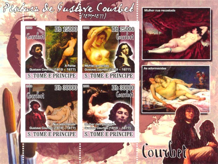 Paintings of Gustave Courbet (1819-1877) - Issue of Sao Tome and Principe postage stamps
