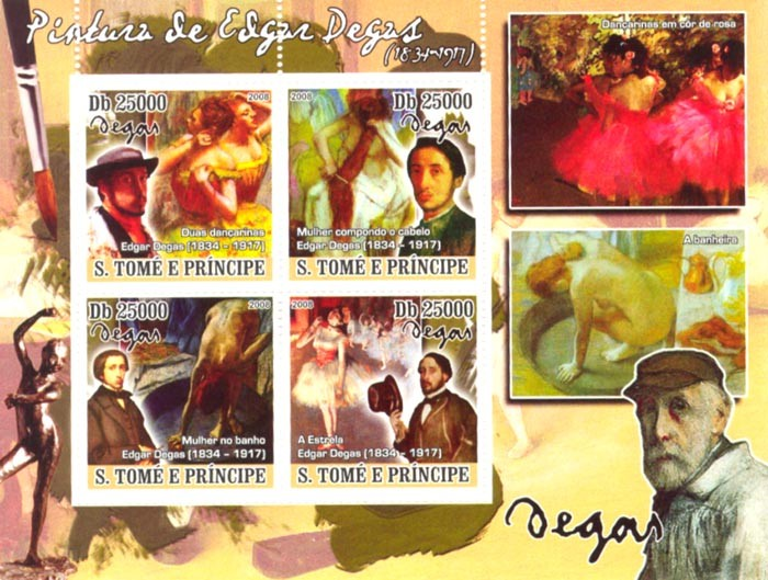 Paintings of Edgar Degas (1834-1917) - Issue of Sao Tome and Principe postage stamps