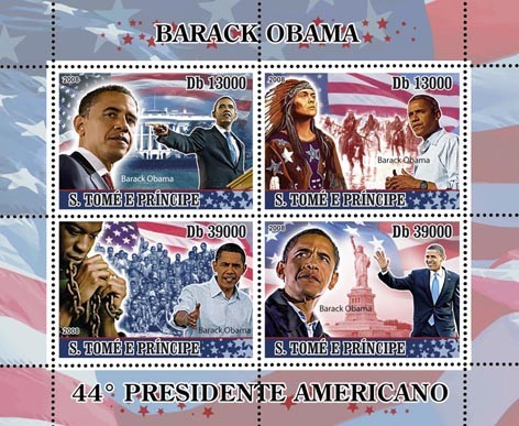 President Barack Obama 4v - Issue of Sao Tome and Principe postage stamps