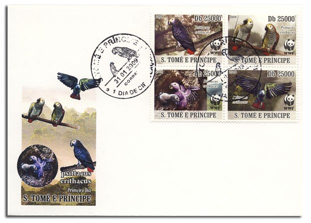 Parrots FDC 4v x 25000 - Issue of Sao Tome and Principe postage stamps