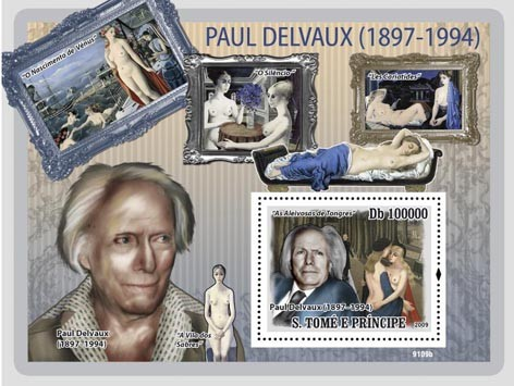 Paul Delvaux - Issue of Sao Tome and Principe postage stamps