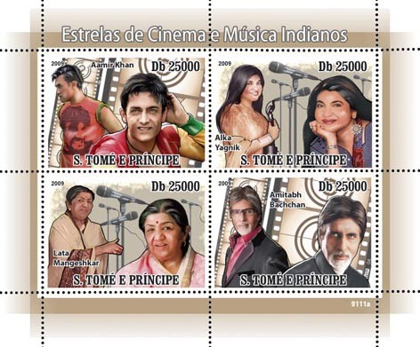 Cinema and Music Stars of India - Issue of Sao Tome and Principe postage stamps