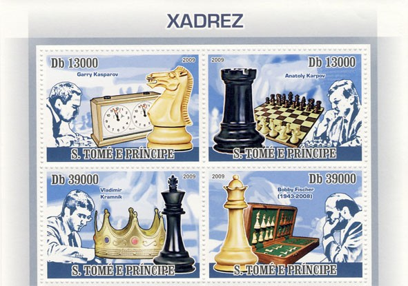 Chess (G.Kasparov, A.Karpov, V.Kramnik, B.Fisher) - Issue of Sao Tome and Principe postage stamps