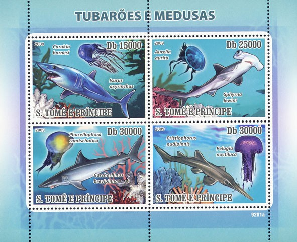 Sharks & Jellyfishes (Corals) - Issue of Sao Tome and Principe postage stamps