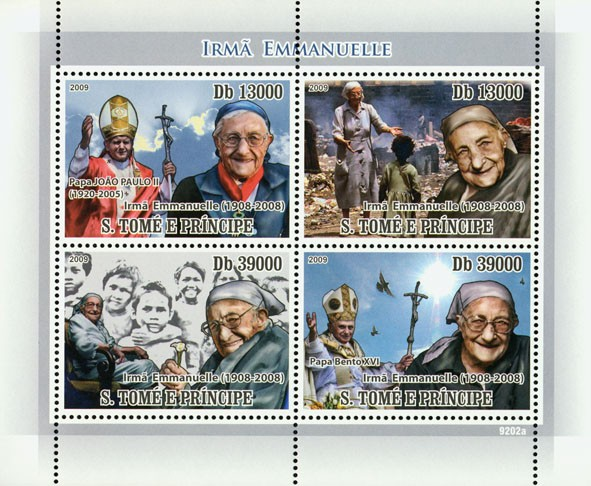 Sister Emmanuelle 1908-2008, (Popes) - Issue of Sao Tome and Principe postage stamps