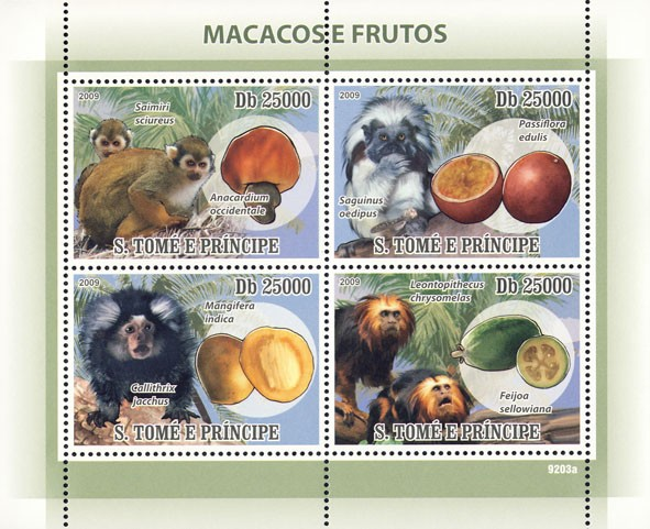 Macaque's & Fruits - Issue of Sao Tome and Principe postage stamps