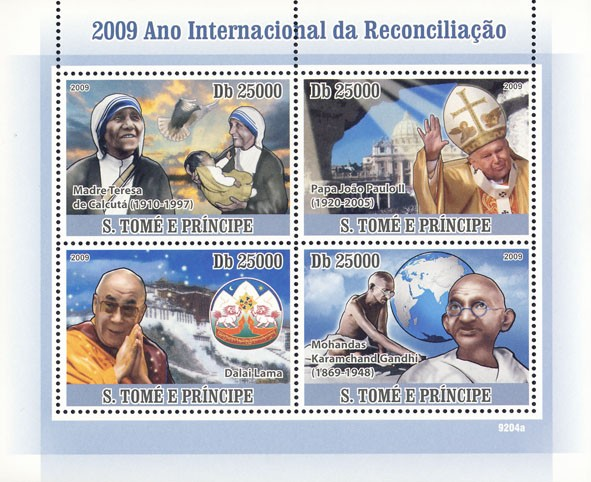 2009 Year Of International Reconciliation (M.Teresa, Pope, Dalai Lama, Gandhi) - Issue of Sao Tome and Principe postage stamps