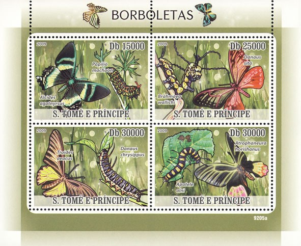 Butterflies & Maggots - Issue of Sao Tome and Principe postage stamps