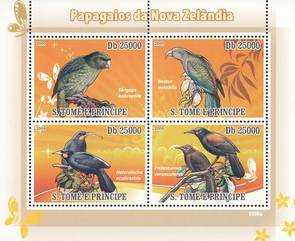 Parrots of New Zealand - Issue of Sao Tome and Principe postage stamps