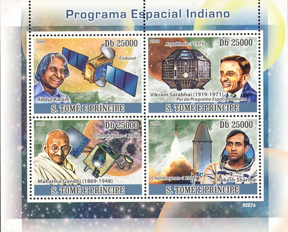 Program of Space Indian (A.Kalam, V.Sarabhai, M.Gandhi, R.Sarma) - Issue of Sao Tome and Principe postage stamps