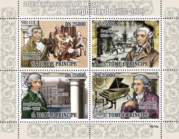 200th Joseph Haydn (1732-1809) - Issue of Sao Tome and Principe postage stamps