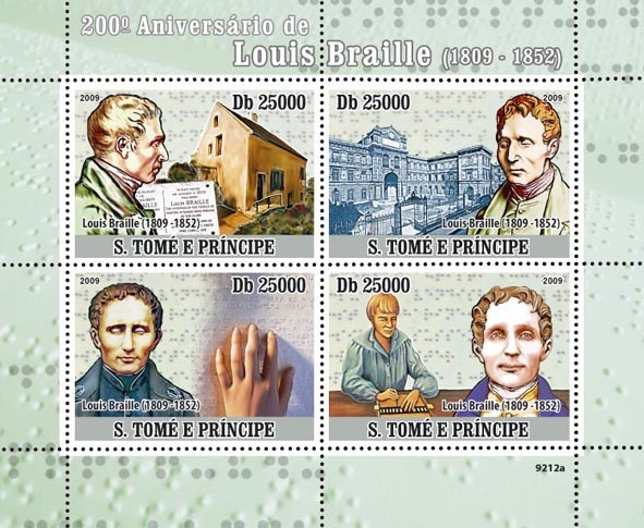 200th Anniversary of Luis Braille (1809-1852) - Issue of Sao Tome and Principe postage stamps