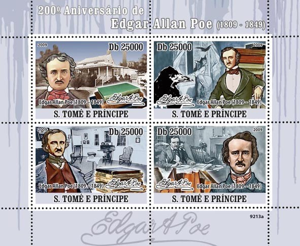 200th Anniversary of Edgar Allan Poe (1809-1849), Paintings - Issue of Sao Tome and Principe postage stamps