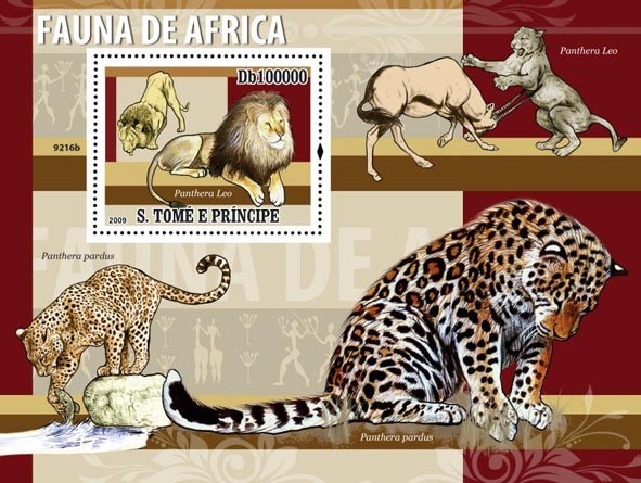 Fauna of Africa (Panthera Leo) Wild cats - Issue of Sao Tome and Principe postage stamps