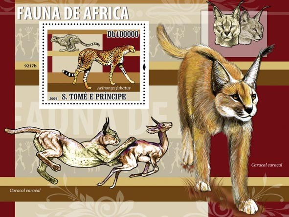 Fauna of Africa (Acinonyx jubatus) Wild Cats - Issue of Sao Tome and Principe postage stamps