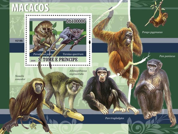 Macaques (Perodicus porto, Tarsius spectrum) - Issue of Sao Tome and Principe postage stamps