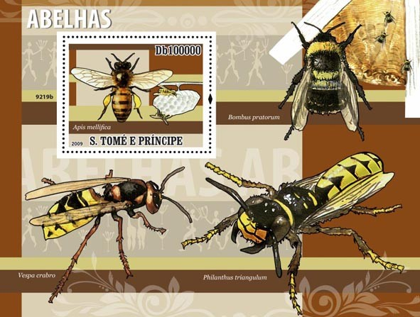 Bees (Apis mellifica) - Issue of Sao Tome and Principe postage stamps