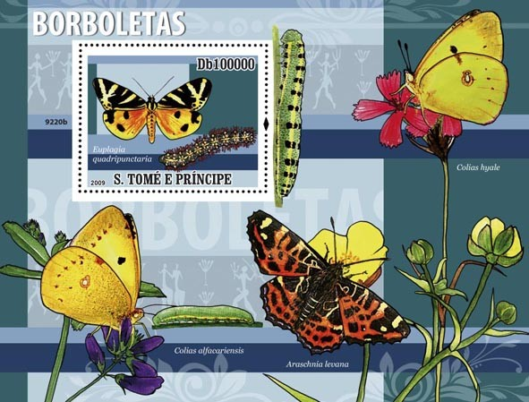 Butterflies (Euplagia guadripunctaria) - Issue of Sao Tome and Principe postage stamps