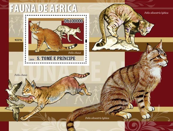 Fauna of Africa (Felis chaus) Cats - Issue of Sao Tome and Principe postage stamps