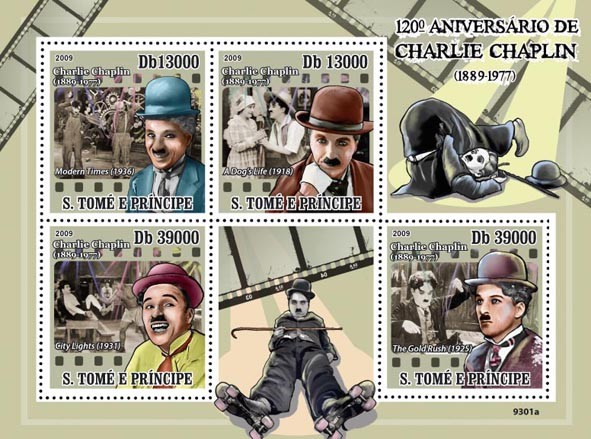 120 th Anniversary of Charlie Chaplin 1889-1977 (Cinema) - Issue of Sao Tome and Principe postage stamps