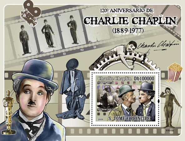 120 th Anniversary of Charlie Chaplin 1889-1977 (Cinema, Oscars) - Issue of Sao Tome and Principe postage stamps