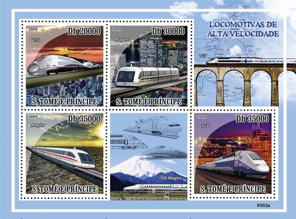 Speed Trains (TGV, Maglev, V150) - Issue of Sao Tome and Principe postage stamps