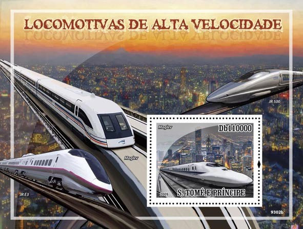 Speed Trains (JR E3, Maglev) - Issue of Sao Tome and Principe postage stamps