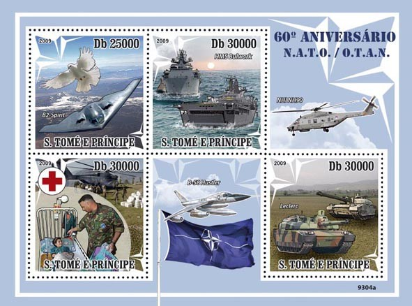 60 Years of NATO (Red Cross, Bird, Army) - Issue of Sao Tome and Principe postage stamps