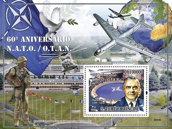 60 Years of NATO (Hastings Lionel Ismay, Plane, Helicopter, Bird) - Issue of Sao Tome and Principe postage stamps
