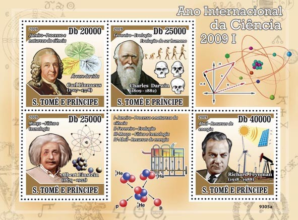 2009 Year of Science I (C.Linnaeus, C.Darwin, A.Einstein, R.Feynman) - Issue of Sao Tome and Principe postage stamps