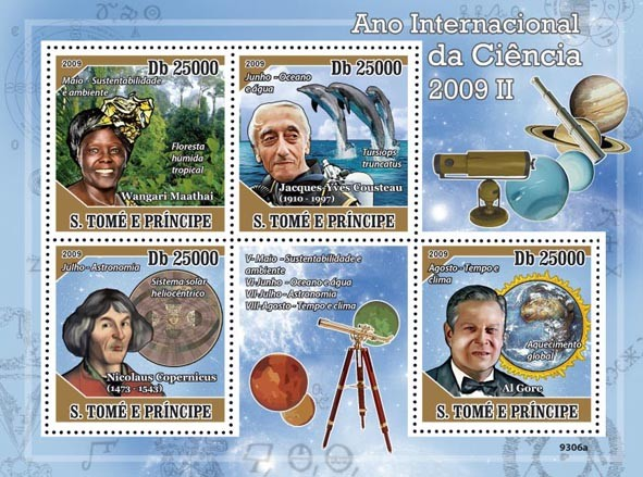 2009 Year of Science II (W.Maathai, J.Y.Cousteau, N.Copernicus, Al Gore) - Issue of Sao Tome and Principe postage stamps