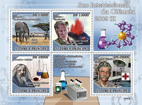 2009 Year of Science III (H.Tazieff, D.Mendeleev, A.Schweitzer Red Cross) - Issue of Sao Tome and Principe postage stamps