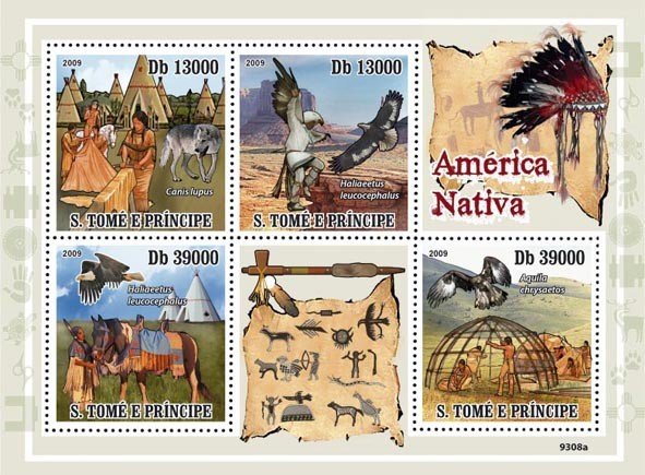 Native America, Indians (Bird of Pray, Horse, Wolf) - Issue of Sao Tome and Principe postage stamps