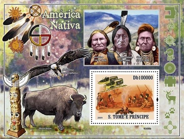 Native America, Indians (Bird of Pray, Bison) - Issue of Sao Tome and Principe postage stamps
