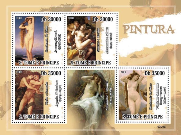 Paintings (A.Duval, A.Allori, A. di Consimo, W.A.Bouguereau) - Issue of Sao Tome and Principe postage stamps