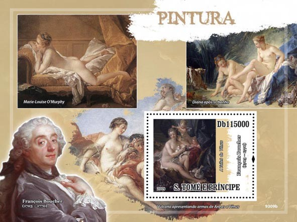 Paintings F.Boucher (The Toilett of Venus?タᆵ) - Issue of Sao Tome and Principe postage stamps