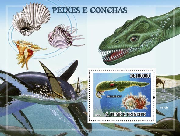 Fishes & Shells (Dinosaurs) - Issue of Sao Tome and Principe postage stamps