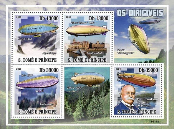 Zeppelins (Ferdinand von Zeppelin) - Issue of Sao Tome and Principe postage stamps