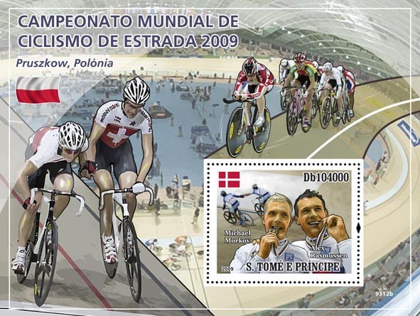 2009 World Truck Cycling Champ (M.Morkov, A.Rasmussen) - Issue of Sao Tome and Principe postage stamps